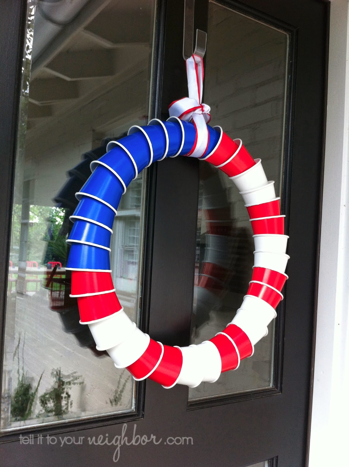 american flag wreath made out of cups